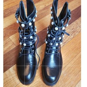 Zara faux pearl leather boots